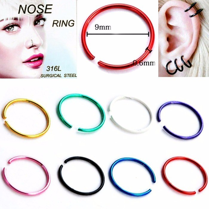 ANTING HIDUNG JEPIT ( nose ring ) isi 8