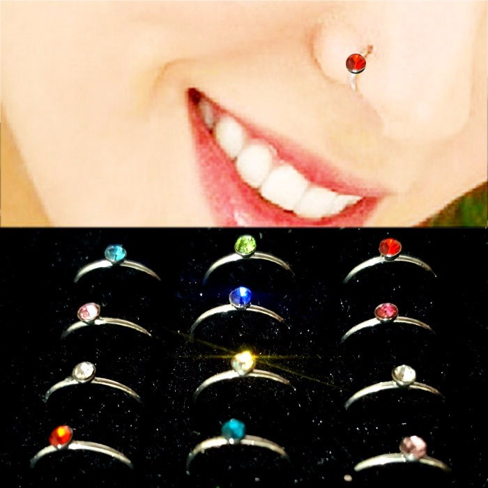 ANTING HIDUNG JEPIT INDIA ( nose ring ) CYAN