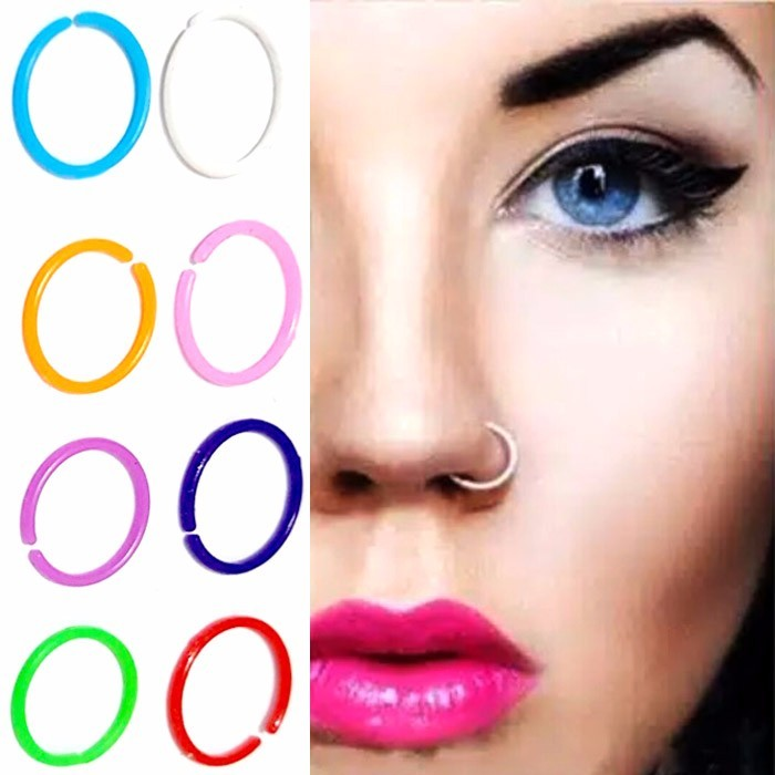 ANTING HIDUNG JEPIT ACRYLIC - PURPLE ( nose ring )