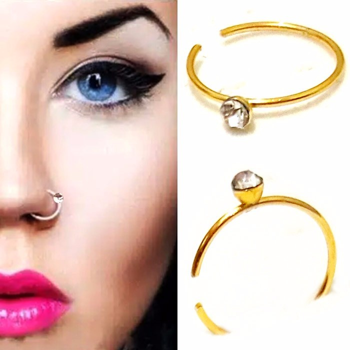 ANTING HIDUNG JEPIT WARNA - GOLD ( nose ring )