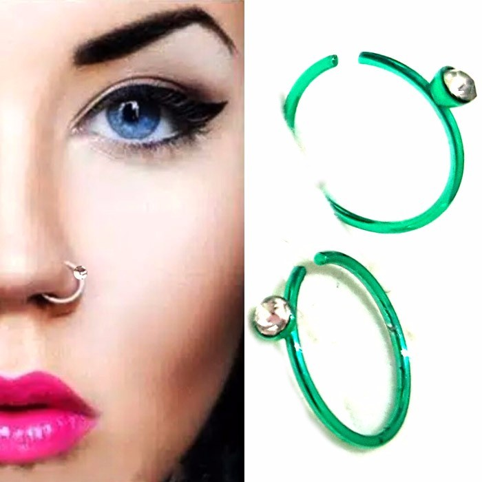 ANTING HIDUNG JEPIT WARNA - GREEN ( nose ring )